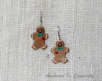 Gingerbread Earrings, Holiday Earrings, Christmas jewelry