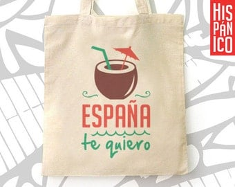 Tote bag, canvas, cotton, fabric, hand bag, spanish, mexican, spain, shopping, gift woman, gift girl, gift sister, gift for her, women