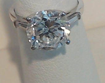 7.00 ct Round Brilliant Engagement, Wedding, Anniversary Ring with Bageuettes   Free Gift