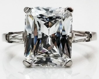 3.00 CTW. Radiant Cut with Baguettes  Side Accents Solitaire Promise/ Engagement/Wedding/Anniversary/Solid 14k White Gold #4549