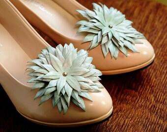 Genuine LEATHER SHOE CLIPS flowers, pearly water blue floral shoe decoration, wedding bridal shoe jewelry | Handmade shoe jewellery, Ukranie