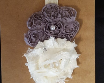 Double Shabby Flower Elastic Headband With Pearls