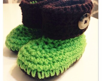 Crochet booties, Boy, Button booties, Boots, Crocheted booties, Preemie booties