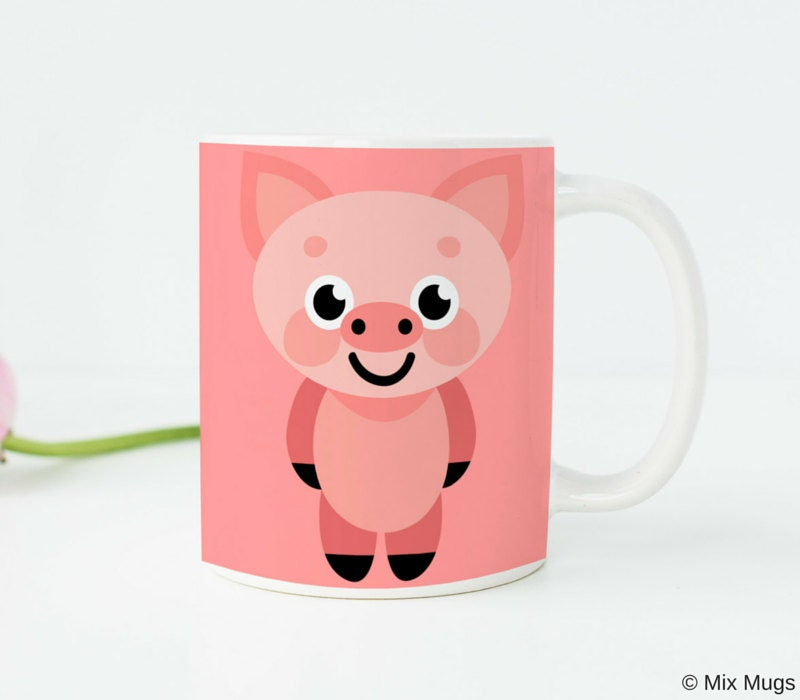 Pig gifts pig kitchen decor pink pig mug pig cup pig art pig Pig kitchen decor