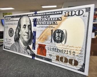 100 Dollar Bill Print Benjamin Franklin Money Canvas Abstract Cash Print Art