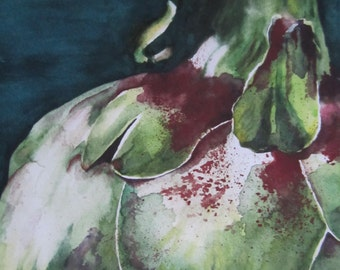 Macro Artichoke Watercolor Print