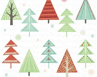 Christmas Tree Clip Art, Vintage Christmas, Retro Vintage style, Seasons Greetings, Templates, Christmas Personal and Commercial Use Cts007