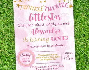 Twinkle Twinkle Little Star First Birthday Invitation  | | Pink and gold first birthday invitation | PDF Editable Instant Download