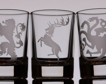 Game of Thrones Etched shot glasses set of 4 or set of 6 for your choice