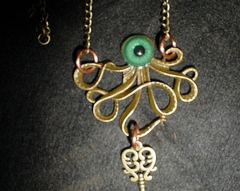 Steampunk Evil eye Octopus necklace