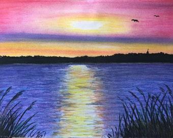 Sonnenuntergang am See Müritz, Pastellmalerei, im Alurahmen