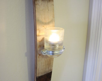 Wine Stave Sconce, with Glass Insulator Tealight Holder