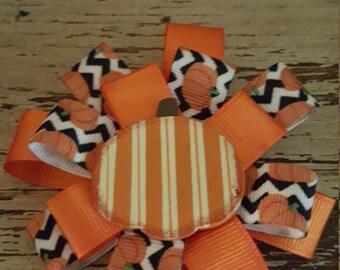 pumpkin fall hair bow