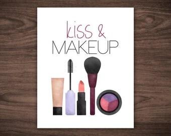 Kiss And Makeup Digital Printable 8x10 Poster Pun Punny Makeup Artist Lipstick Mascara Blush Eye Shadow Download Print Funny Saying