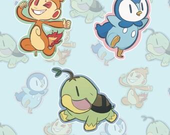 Sinnoh Pokemon Starters Sticker Set