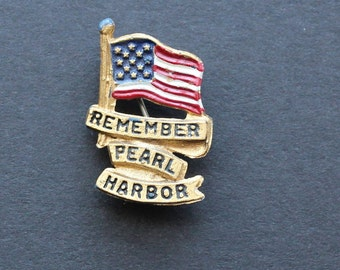Vintage Remember Pearl Harbor Pin| Little Nemo LN Signed|Painted Sweetheart Pin|Collectible Military|Patriotic Pin| WWII Homefront
