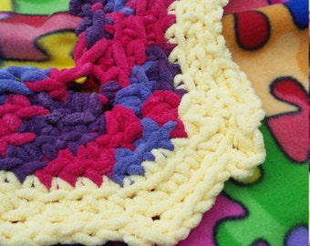 Puzzle Pieces. Fleece blanket. Crochet fleece blanket, baby blanket. Baby fleece blanket,