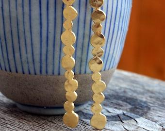 Long Gold earrings Gold long pebbles dangle earrings