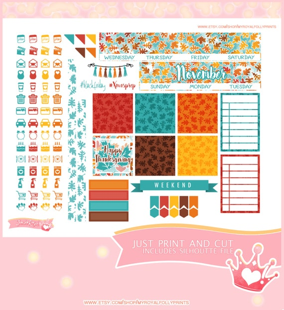 November Month | Printable Planner Stickers | Happy Planner | Instant Digital Download with Silhouette file