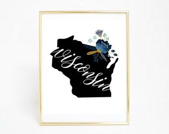 Printable Art, Wisconsin - State Print