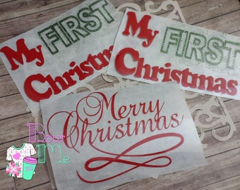 my first Christmas, merry Christmas, iron on transfers,