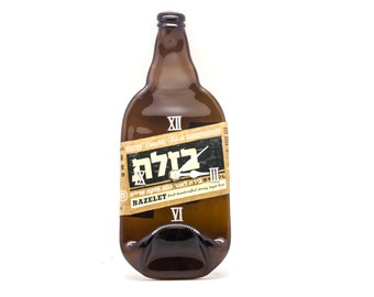 Bazelet - Israeli beer - recycled wall bottle clock - melted beer bottle clock - Handcrafted - Gift for men