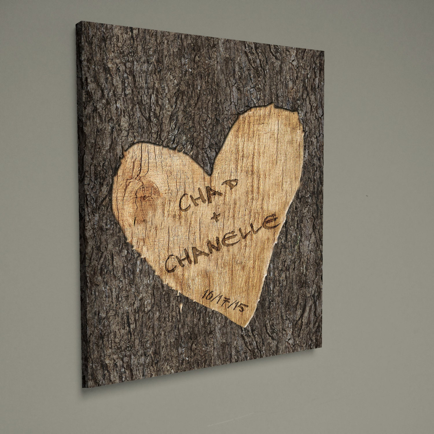 Personalized Wedding Canvas: Personalized Wedding Tree Carved Canvas Wall Art Custom