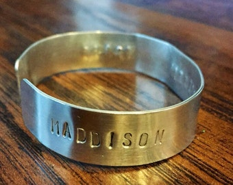 Cuff Bracelet Hand-Stamped With Your Choice Of Names or Words