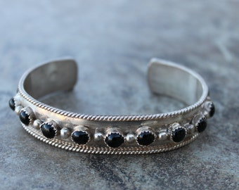 Sterling Silver Cuff with 13 Onyx Stones
