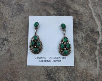 Vintage Malachite Tear Drop Earrings in Sterling Silver