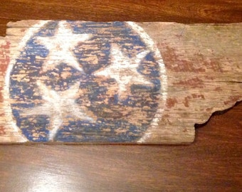 Tennessee State Flag Barn Wood Sign