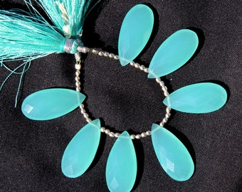 7 Pcs 12x24 mm Aqua Blue Chalcedony Faceted Pear Briolettes, Loose Gemstone Briolette Beads A82