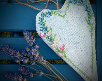 Lavender sachet with embroidery/ Custom lavender sachets/ Lavender sachet with cross stitch