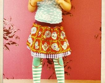 skirt Teacup Teekannen Rock 110 116 122 vintage retro
