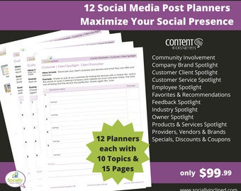 Social Media Planner - 12 Social Post Planners each with 15 Pages & 10 Topics to create evergreen social media content.