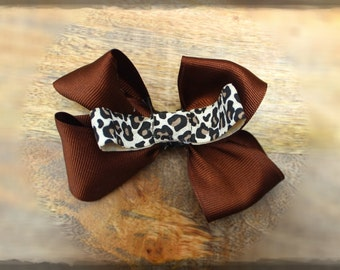 Leopard Print Bow with Soft Fabric Clip