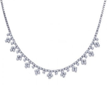 4.85 Carat Round Diamond Cluster Tennis Style Necklace 14K White Gold