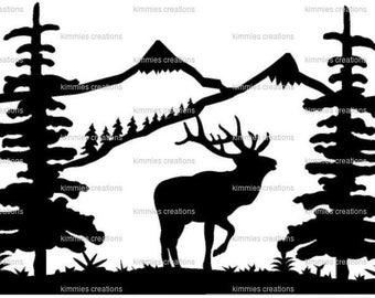 elk  Cutting File Card  svg, Vector Digital ClipArt Wall Decor Decal Vinyl Cutting File