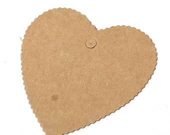 100pcs Brown Kraft Paper Card Wedding Party Favor Punch Label Price
