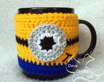 Minion Inspired Handmade Crochet Mug Cosy / Cup Cozy