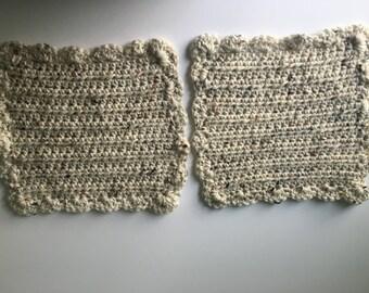 Crochet Washcloth Set, Neutral Dishcloths, Set of 2