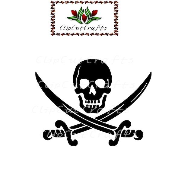Pirate Flag Skull Crossbones Silhouette Cut File Print and Cut