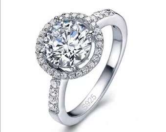 Cubic Zirconia Engagement Ring, Wedding, Sterling Silver, Love