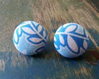 SALE LAST PAIR!! Handmade blue and white 19mm fabric button earrings
