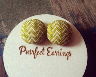 Handmade 15mm mustard yellow button earrings