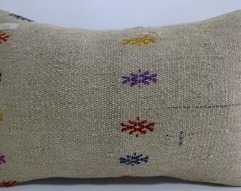 16x24 Anatolian kilim pillow White Pillow vintage Turkish kilim pillow decorative kilim pillow throw pillow cushion cover pillow SP4060-242
