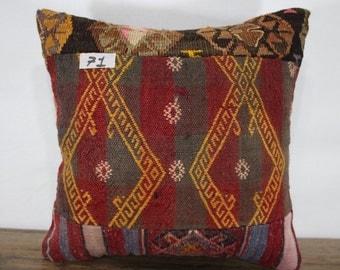 vintage Turkish kilim pillow patchwork pillow 16x16 red blue plaid hand woven kilim patchwork pillow pathcwork kilim cushion case SP4040-71