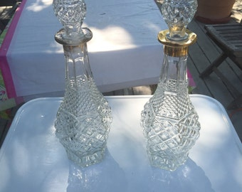 Matching 1970s Glass Decanters