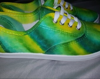 tie dye shoes yellow, blue, green