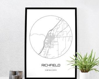 Richfield Map Print - City Map Art of Richfield Utah Poster - Coordinates Wall Art Gift - Travel Map - Office Home Decor